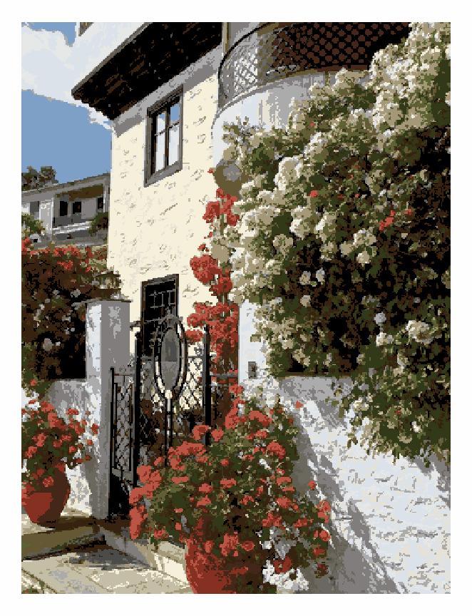 Гоблен - Къща с цветя