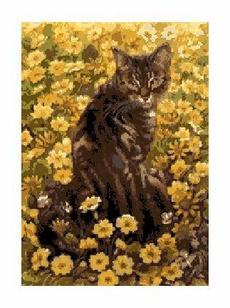 Гоблен - Котка сред цветя
