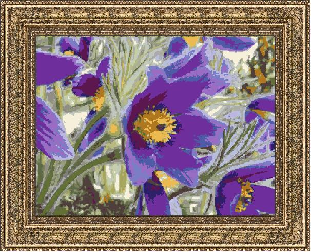 Гоблен - Лилави цветя