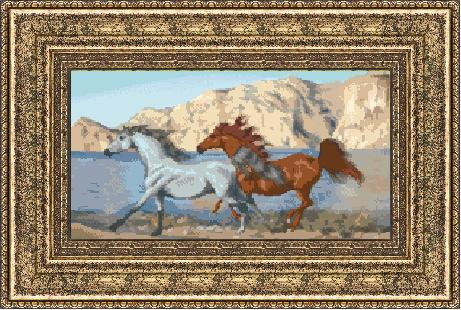 Гоблен - Коне в галоп