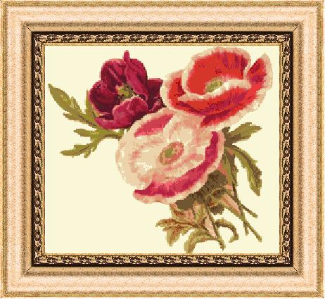 Гоблен - Червени цветя